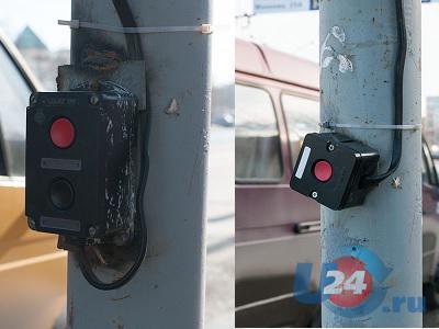 Новый светофор в центре Миасса: кнопки заменили и перенесли, время переключения увеличили