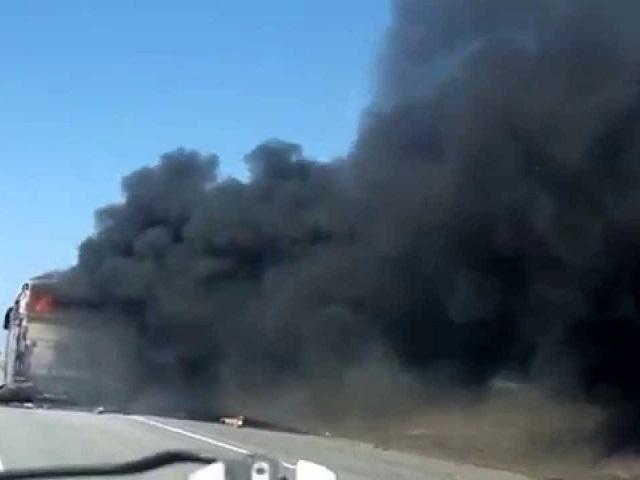 Натрассе М-5 под Саргазами сгорел пассажирский автобус