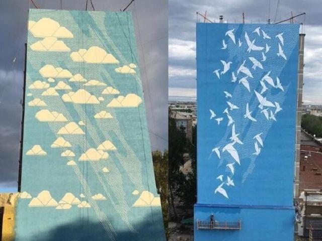 В Магнитогорске украсили дом в память о погибших при обрушении подъезда