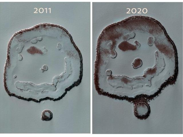 На Марсе увеличился кратер-«смайлик»