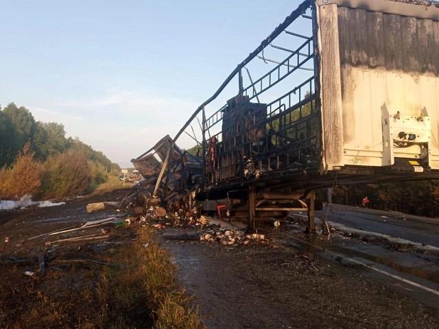 Южноуральский дальнобойщик сгорел в фуре после ДТП